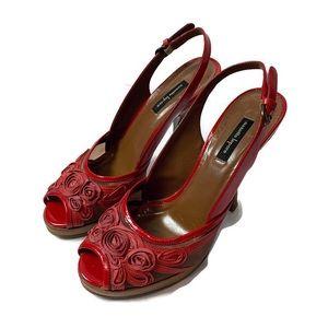 Nanette Lepore Red Rose Floral High Heels 8